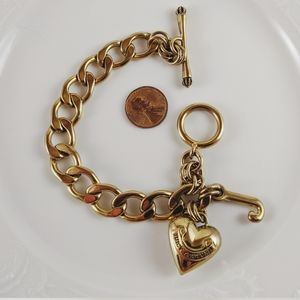 Juicy Couture Gold Tone Heart Toggle Charm Bracele
